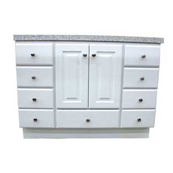 Richmond Satin White With Bottom Drawer Vanity Builders