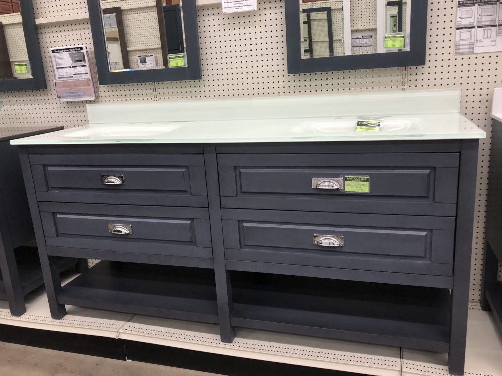 mystique blue open shelf vanity